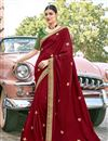image of Function Wear Maroon Color Embroidery Work Saree In Art Silk Fabric