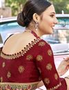 photo of Designer Dark Beige Color Satin Silk Fabric Party Wear Embroidery Work Saree