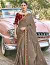image of Designer Dark Beige Color Satin Silk Fabric Party Wear Embroidery Work Saree