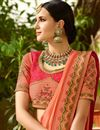 photo of Salmon Color Embroidered Saree In Art Silk Fabric For Wedding Functions
