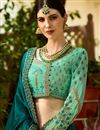photo of Art Silk Fabric Wedding Wear Teal Embellished Designer Saree