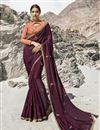 image of Beguiling Embroidered Art Silk Party Style Designer Saree In Wine Color