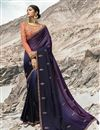 image of Art Silk Beguiling Purple Party Style Designer Embroidered Saree