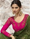 photo of Mehendi Green Art Silk Beguiling Party Style Designer Embroidered Saree