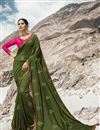 image of Mehendi Green Art Silk Beguiling Party Style Designer Embroidered Saree