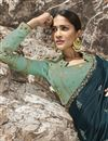 photo of Eid Special Beguiling Embroidered Teal Party Style Designer Saree In Art Silk