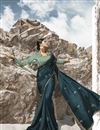 image of Eid Special Beguiling Embroidered Teal Party Style Designer Saree In Art Silk