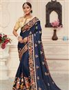 image of Art Silk Fabric Function Wear Alluring Embroidered Saree In Navy Blue Color