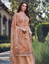 image of Peach Color Casual Wear Embroidered Georgette Fabric Palazzo Dress