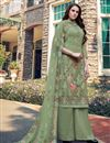 image of Sea Green Color Georgette Fabric Casual Wear Embroidered Palazzo Dress