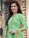photo of Casual Wear Georgette Fabric Sea Green Color Embroidered Palazzo Suit