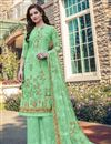 image of Casual Wear Georgette Fabric Sea Green Color Embroidered Palazzo Suit