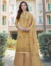 image of Georgette Fabric Casual Wear Embroidered Mustard Color Palazzo Suit