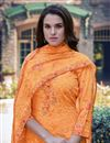 photo of Georgette Fabric Casual Wear Embroidered Orange Color Palazzo Dress