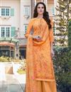 image of Georgette Fabric Casual Wear Embroidered Orange Color Palazzo Dress