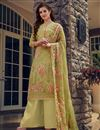 image of Green Color Casual Wear Georgette Fabric Embroidered Palazzo Suit