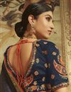 photo of Sangeet Wear Art Silk Saree In Navy Blue With Embroidered Blouse