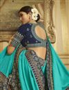 photo of Sangeet Wear Art Silk Saree In Cyan With Embroidered Blouse
