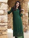 image of Jasmin Bhasin Art Silk Green Festive Style Kurti With Palazzo
