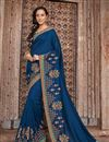 image of Navy Blue Art Silk Reception Wear Saree With Embroidery Work