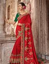 image of Art Silk Fabric Red Wedding Wear Saree With Embroidery Work