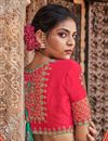 photo of Embroidery Work On Occasion Wear Saree In Cyan Color With Designer Blouse
