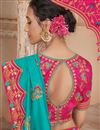 photo of Embroidery Work On Reception Wear Saree In Art Silk Fabric Cyan Color With Charming Blouse