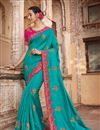 image of Embroidery Work On Reception Wear Saree In Art Silk Fabric Cyan Color With Charming Blouse