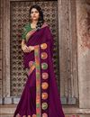 image of Art Silk Fabric Purple Color Embroidered Designer Saree With Designer Blouse