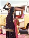 image of Wine Color Function Wear Trendy Embroidered Georgette Fabric Palazzo Suit