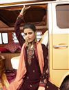 photo of Georgette Fabric Function Wear Maroon Color Trendy Embroidered Palazzo Suit