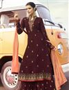 image of Georgette Fabric Function Wear Maroon Color Trendy Embroidered Palazzo Suit