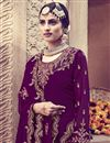 photo of Eid Special Wine Color Function Wear Designer Embroidered Palazzo Dress In Georgette