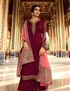 image of Eid Special Designer Function Wear Maroon Color Satin Georgette Fabric Embroidered Palazzo Suit