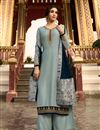 image of Eid Special Designer Satin Georgette Fabric Function Wear Embroidered Grey Color Palazzo Suit