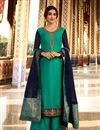 image of Satin Georgette Fabric Function Wear Designer Embroidered Turquoise Color Palazzo Dress