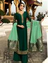 image of Satin Georgette Fabric Dark Green Color Function Wear Designer Embroidered Palazzo Dress