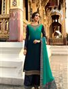 image of Navy Blue Color Function Wear Designer Embroidered Palazzo Dress In Satin Georgette Fabric