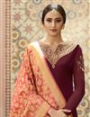photo of Georgette Fancy Wine Embroidered Function Wear Designer Straight Palazzo Dress