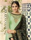photo of Function Wear Sea Green Designer Embroidered Georgette Fancy Palazzo Suit