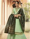 image of Function Wear Sea Green Designer Embroidered Georgette Fancy Palazzo Suit