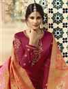 photo of Maroon Fancy Georgette Embroidered Function Wear Designer Straight Palazzo Dress