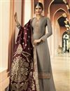 image of Function Wear Fancy Georgette Embroidered Palazzo Designer Suit In Grey