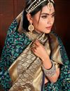 photo of Art Silk Fabric Weaving Work Sangeet Wear Navy Blue Color Saree With Blouse