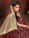 photo of Weaving Work Wedding Wear Saree In Art Silk Fabric Red Color