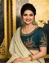 photo of Prachi Desai Featuring Classic Embroidery Work Designs On Cream Color Occasion Wear Saree In Art Silk Fabric