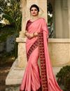 image of Eid Special Prachi Desai Featuring Embroidery Work On Pink Color Art Silk Fabric Function Wear Fancy Saree