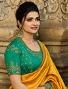 photo of Prachi Desai Featuring Mustard Color Designer Party Wear Chiffon Fabric Saree