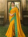 image of Prachi Desai Featuring Mustard Color Designer Party Wear Chiffon Fabric Saree