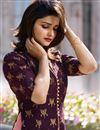 photo of Prachi Desai Party Wear Designer Banarasi And Satin Fabric Purple Long Kurti With Koti